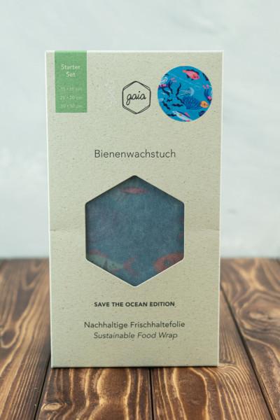 gaia Bio Bienenwachstücher (S/M/L) Starter Set - Save the ocean Edition