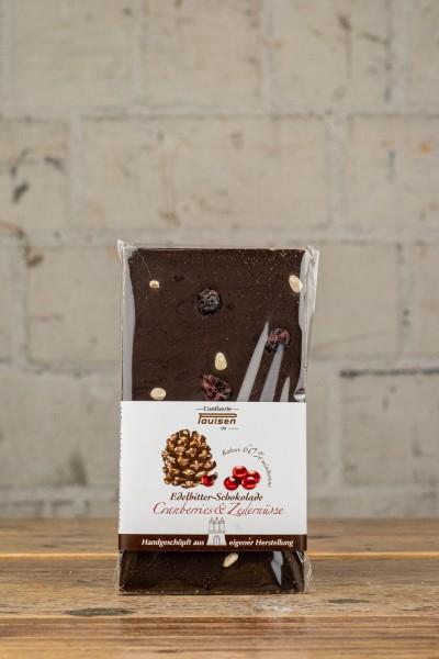 Confiserie Paulsen Edelbitter-Schokolade Cranberry & Zedernüsse